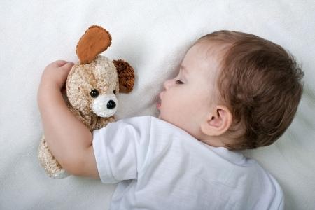 ぬいぐるみを抱いて寝る赤ちゃん